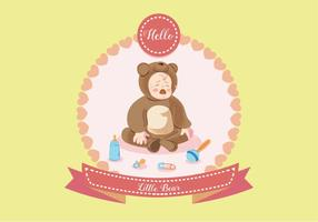 Crying Baby in Bear Costume Vector