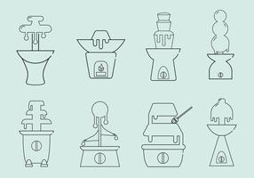 Chocolate Fountain Icon Vectors