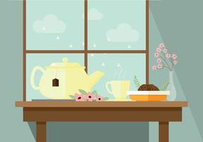 Pleasant Morning Tea Vector Illustration