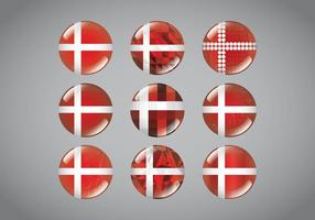 Button Pins Danish Flag vector