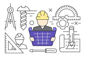 Linear Construction Engineering Vector Icons