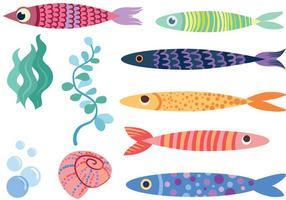 Vectores libres linda de los pescados