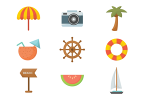 Playa Flat Icons Vector