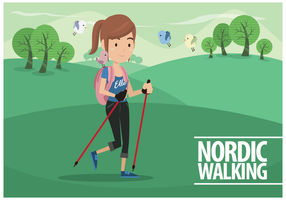 Femenino libre del vector de Nordic Walking