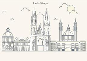 Prague City Skyline with Church Vector