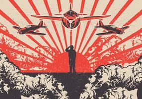 Kamikaze Planes och Soldier World War 2 Vector Bakgrund