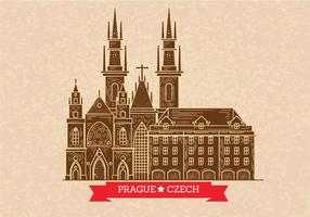 Prague Skyline Illustration on Letterpress Style