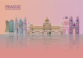 Horizonte de Praga con el cielo azul y reflexiones edificios de colores