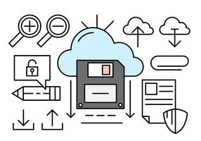 Cloud Computing Linear Icons vector