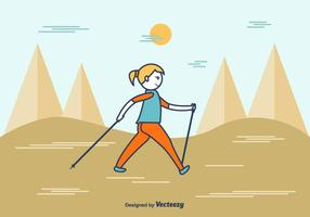 Cartone animato Nordic Walking Vector