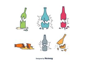 Broken Bottle Vector Set