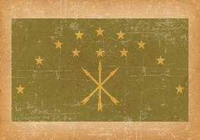 Adygea Flag on Old Grunge Style Background