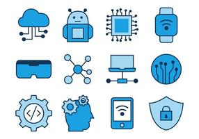 Techno Line Icons Vector