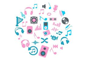 Pink and Blue Circle Music Icons Vector
