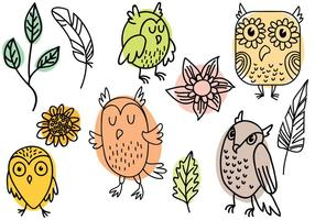 Hand-drawn-nature-and-owl-vectors