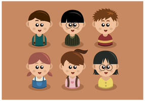 Gratis barn Headshots Vector