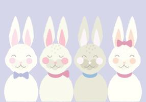 Cute Vector Illustration of Easter Bunnies