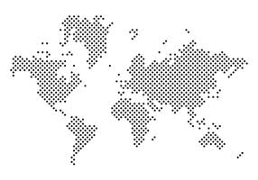 Vector negro punteado Mapa Mundi