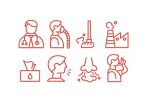 Astma en Lung Disease Vector Icons