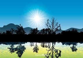 Beautiful Landscape Scene with Water Reflection vector