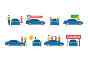 Carpool Icons Vector