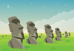 Easter Island Statue Lanscape Illustration Vector