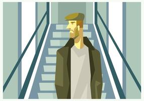Un hombre con sombrero en el vector de la escalera móvil