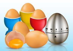 Temporizador do ovo e ovo rachado vetores