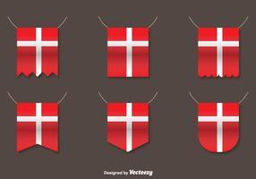 Vector conjunto de banderas danesas
