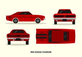 Vintage Red Dodge Charger Front Back Top Side View Vector Illustration