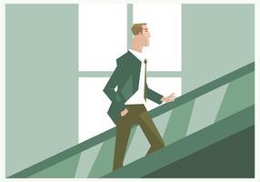 Un hombre de negocios en el vector de la escalera móvil