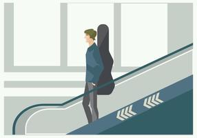 Young Musician on The Airport Escalator Vector