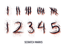 Numbered Scratch Marks Vector