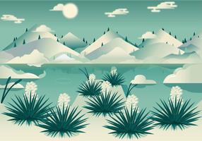 Vector Desert Yucca Landscape