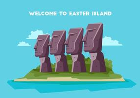 Easter Island Welkom Board Vector Illustration