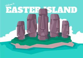 Easter Island Poscard Vector Illustration