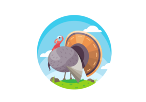 Amazing Wild Turkey Scene Vector