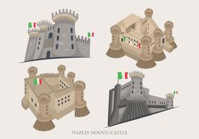 Naples Historical Nouvo Castle Building Vector Illustration
