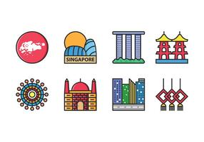 Singapour Icon Set Vector