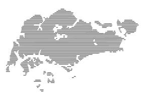 Horizontal Lines Singapore Map Vector