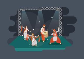 Gratis man och kvinnor Performance Bhangra Dance I steg Illustration