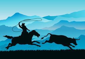 gaucho che insegue vettore della mucca selvaggia