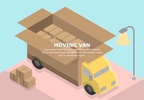 Pastel Illustration Van Moving vecteur