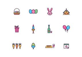 Outlined Easter and Holy Week Vector Icon set
