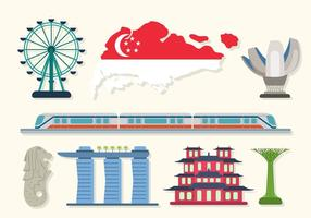 Vecteurs plats Singapour