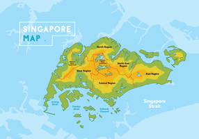 Singapur Karte Vector Illustration