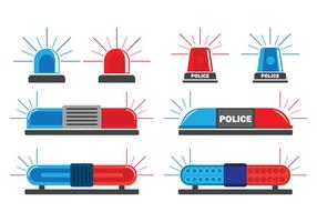 Police Lights Vector Icons Set