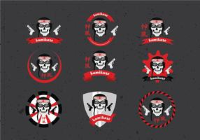 Kamikaze Badge Set Vector gratuit