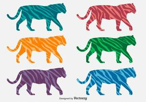 Vector Colorful Tiger Silhouettes With Animal Stripes