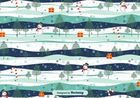 Snowy Landscape Christmas Vector Pattern